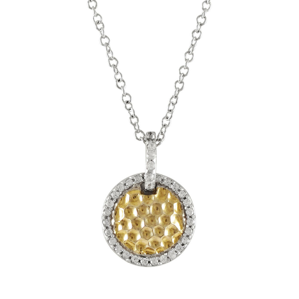 hammered gold plated sterling silver with cz border circle. Black Bedroom Furniture Sets. Home Design Ideas