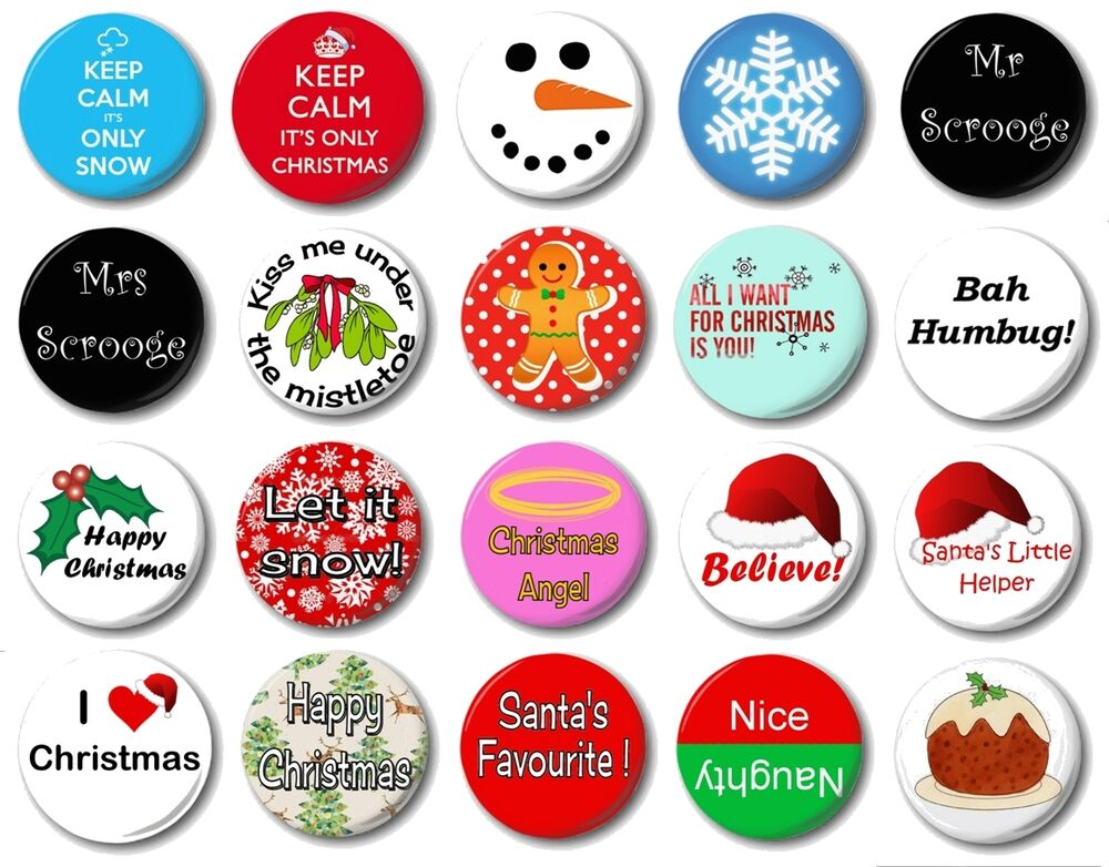 christmas various designs 1 25mm button badge. Black Bedroom Furniture Sets. Home Design Ideas