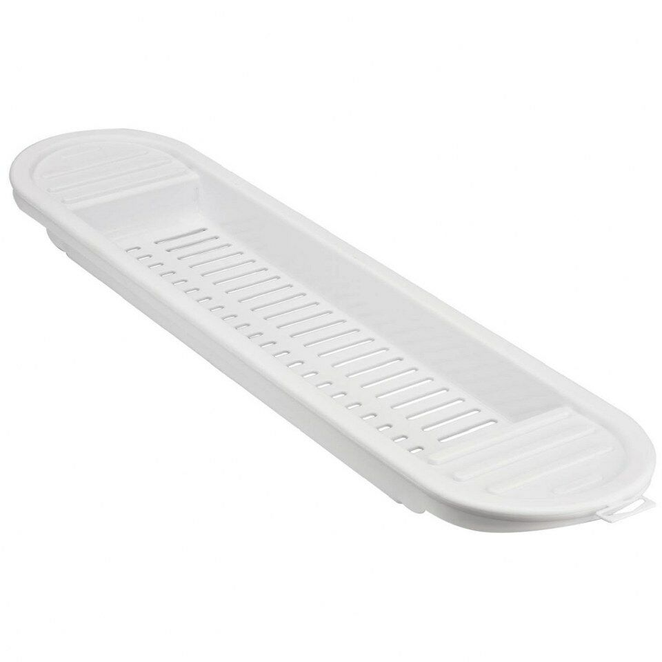 New white plastic over bath shelf rack caddy tidy storage for Bathroom tray