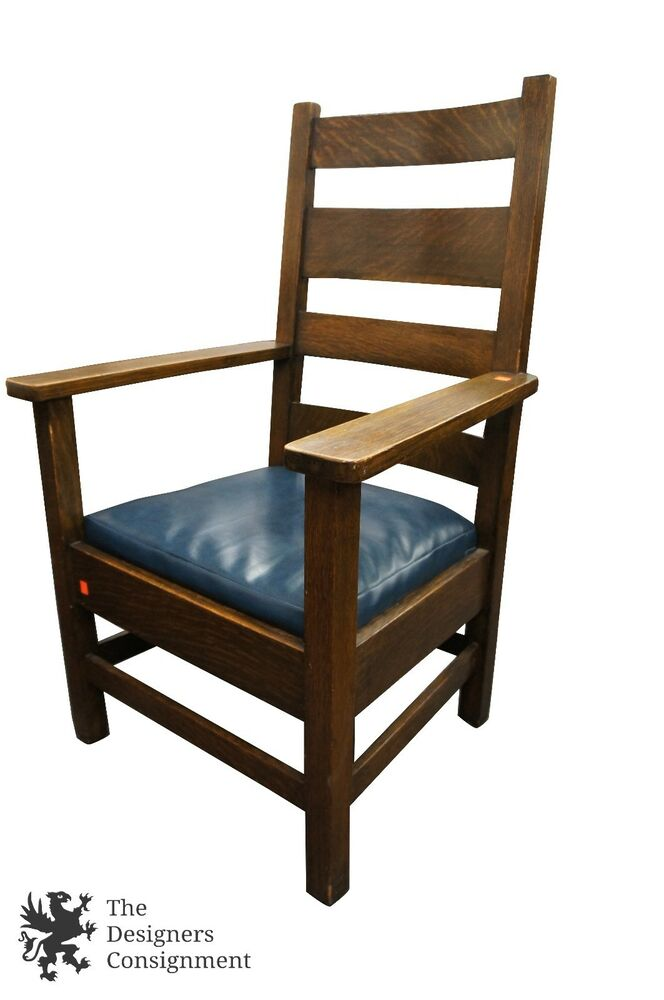 Stickley Bros. Antique Mission Style Slat Back Arm Chair W ...