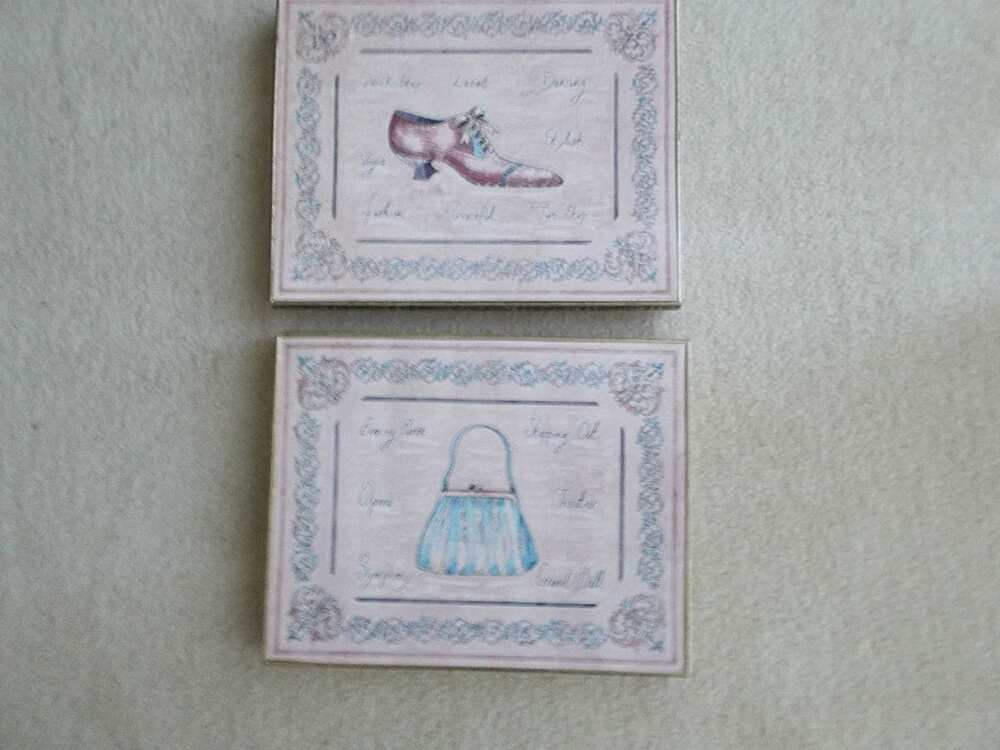 Set of lovely victorian shoe and purse framed picture for Victorian wall decor