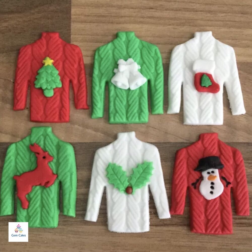 Sugar Cake Decorations For Christmas : 6 Edible Christmas Jumper Sugar Cake & Cupcake Toppers ...