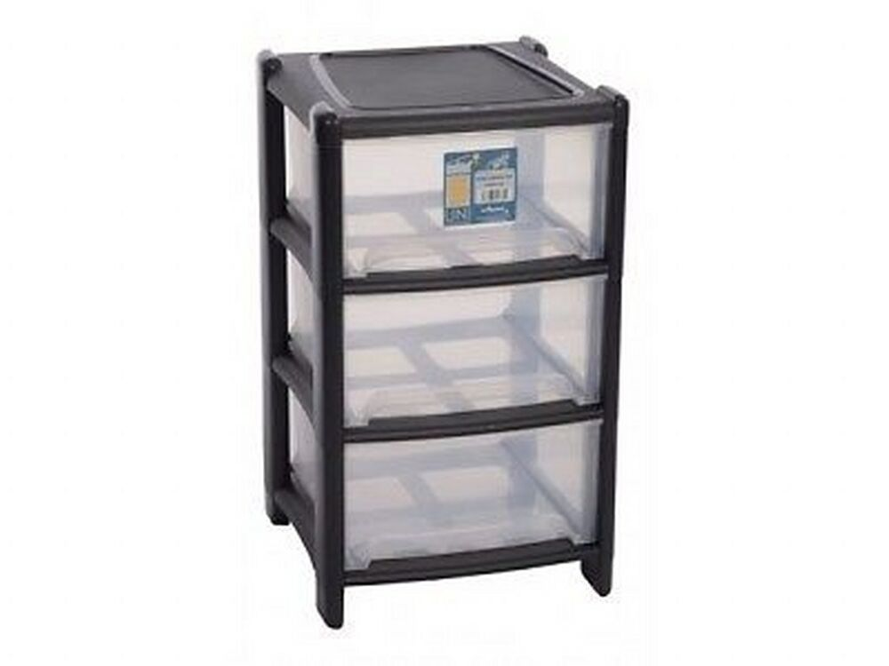 new plastic 3 deep drawer storage unit cabinet paper cupboard tidy office home ebay. Black Bedroom Furniture Sets. Home Design Ideas