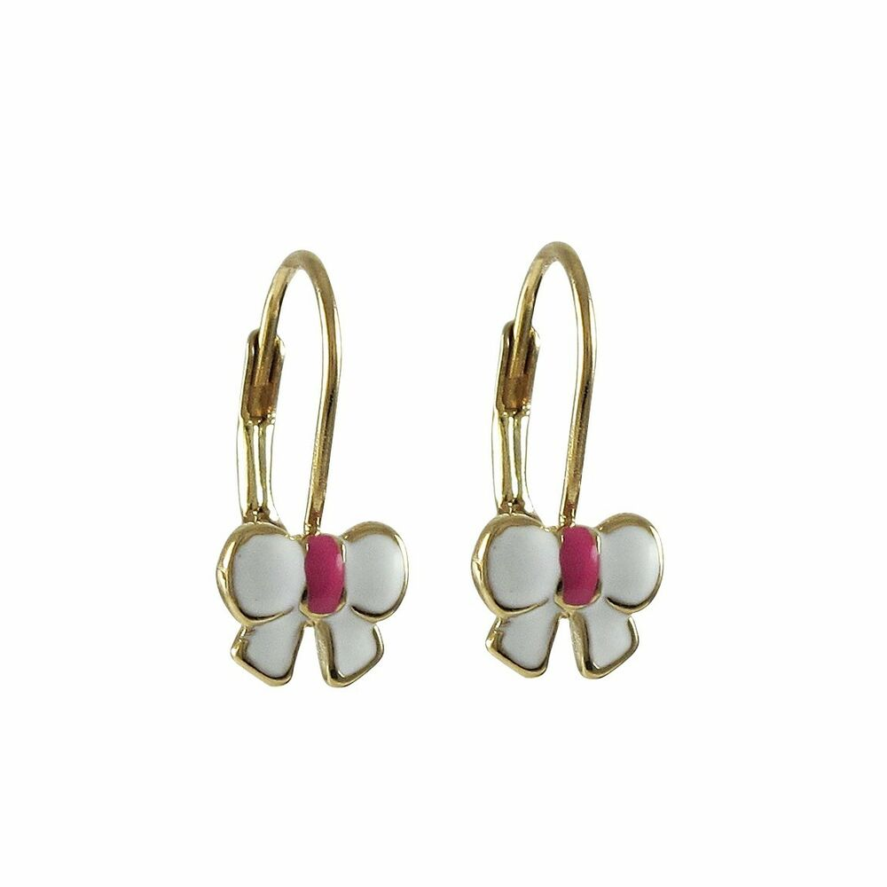 Pink Earrings For Girls Genuine Gold Finish Wh...