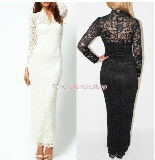 New sexy womens v neck long sleeve floral maxi lace for Long sleeve slim wedding dresses