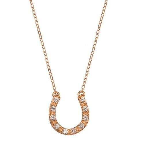 Pink Rose Gold Over Sterling Silver Cz Horseshoe Pendant