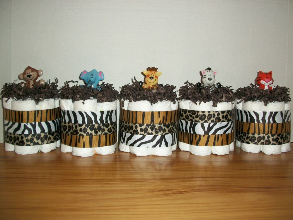 5 jungle animal mini diaper cakes boy neutral baby shower for Baby shower foam decoration