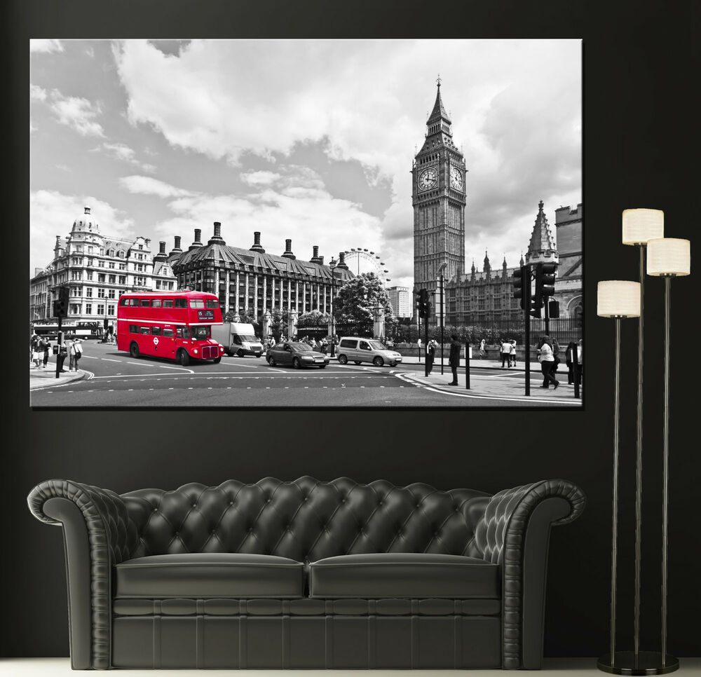 Canvas vintage red london bus home wall prints fine art for Black and white london mural wallpaper