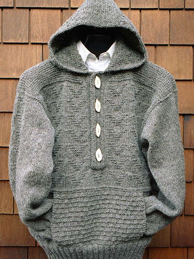 Mens Cardigan Knitting Patterns : Ladies Womans Man Textured Aran Jacket -Pockets/Hood 36 - 46