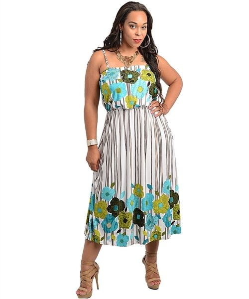 WOMENS PLUS SIZE DRESS MULTI PRINT MAXI DRESS CURVY ...