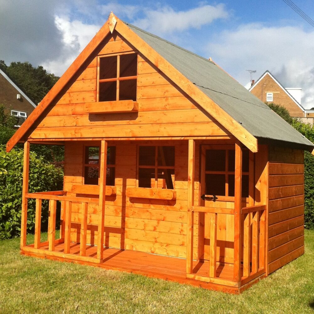 Childrens wooden playhouse 6x8 mini chateau super value t for Childrens play house