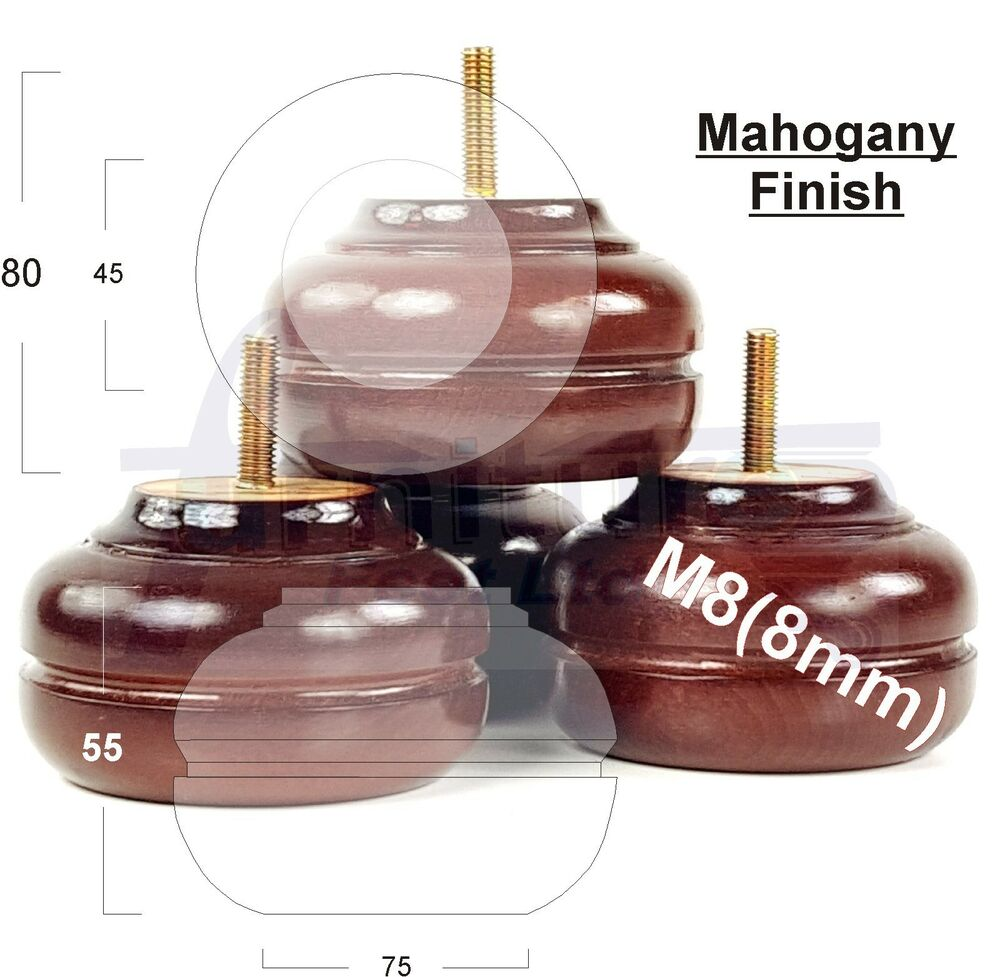 4x Wooden Mahogany Bun Feet Replacement Furniture Legs For