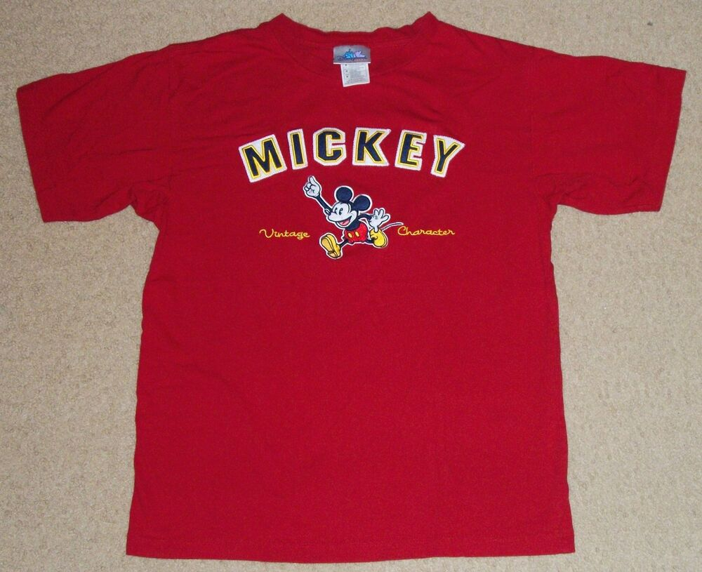 Disney Mickey Vintage Character Embroidered T Shirt Medium