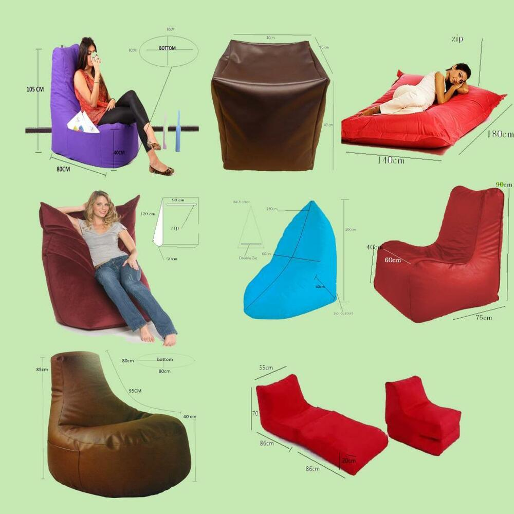 New Sofa Chair Footstool Bean Bag In Polyester And Pu