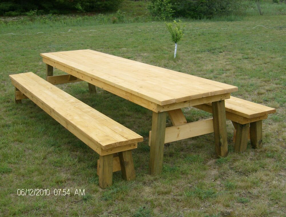 Classic Picnic Table with Separate Benches Plan-How to ...
