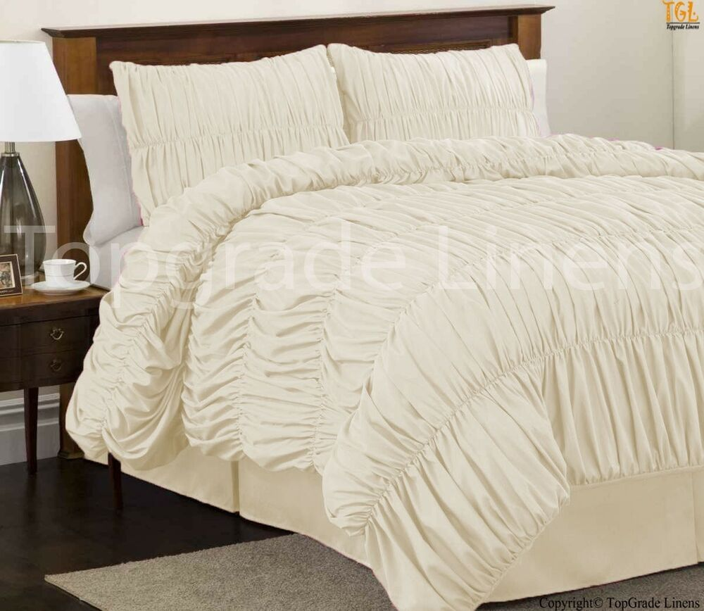 Ivory Gather Ruffled Duvet Cover 3pc 5pc Set 1000tc 100