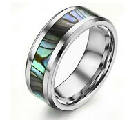 Mens Tungsten Ring With An Abalone Shell Inlay Wedding Band Engagement  b12129