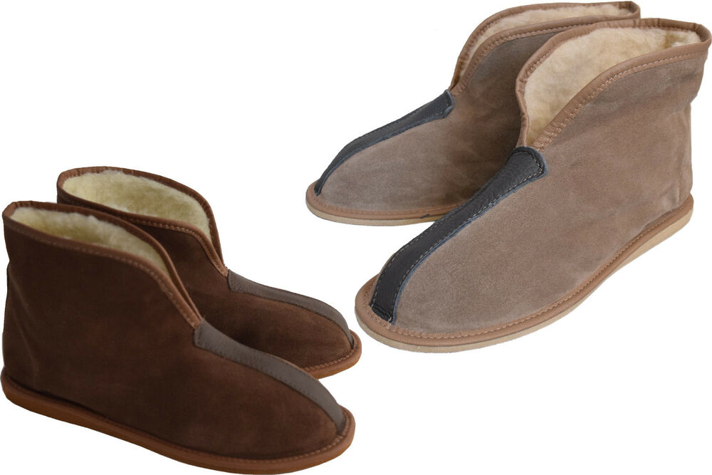 womens mens unisex suede leather and sheep s wool