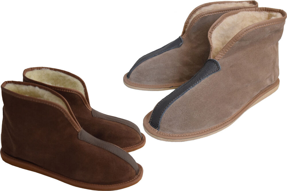 Womens Mens Unisex Natural Suede Leather And Sheep 39 S Wool Slipper Boots