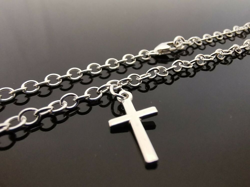 3mm Sterling Silver Bracelet Or Ankle Chain Anklet Cross