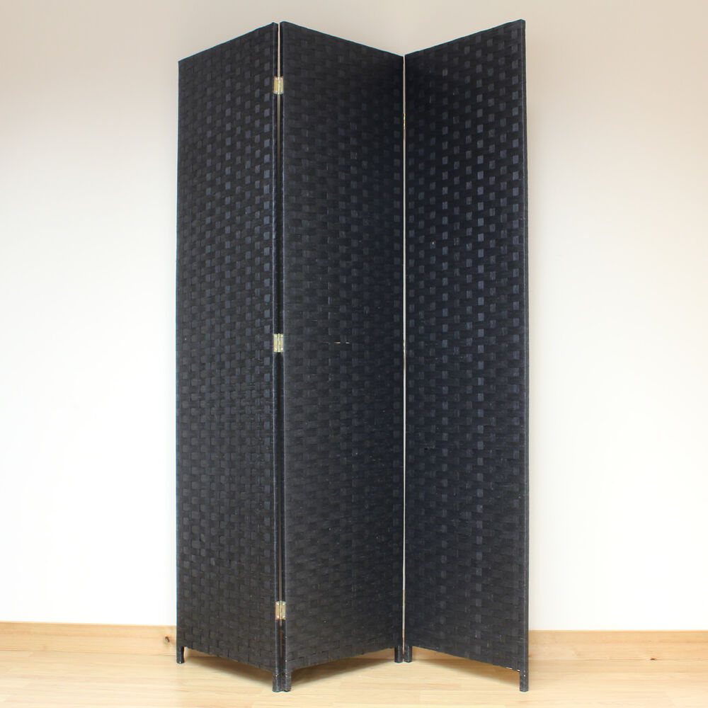 Black 3 panel solid style wicker room divider hand made for Photo screen room dividers