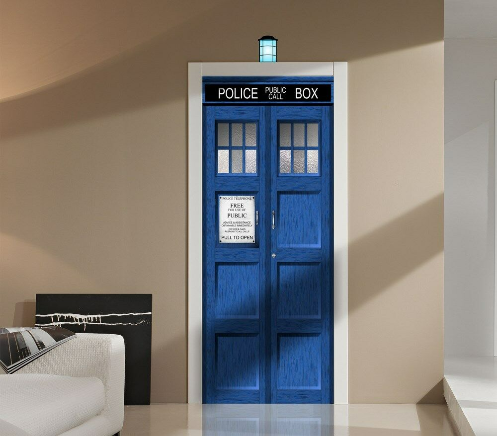 doctor who tardis wall or door decal sticker graphic dr sci fi tv whovian ebay. Black Bedroom Furniture Sets. Home Design Ideas