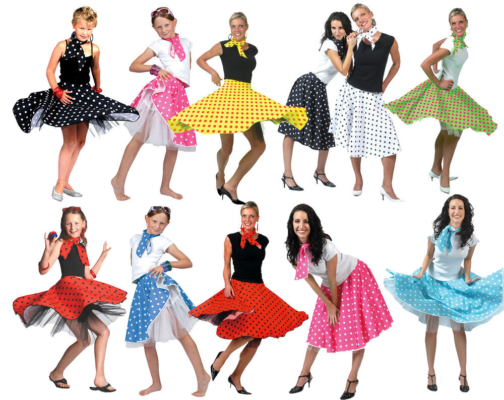 ADULT & GIRLS 50s 60s ROCK AND N ROLL DANCE SKIRT GREASE ...