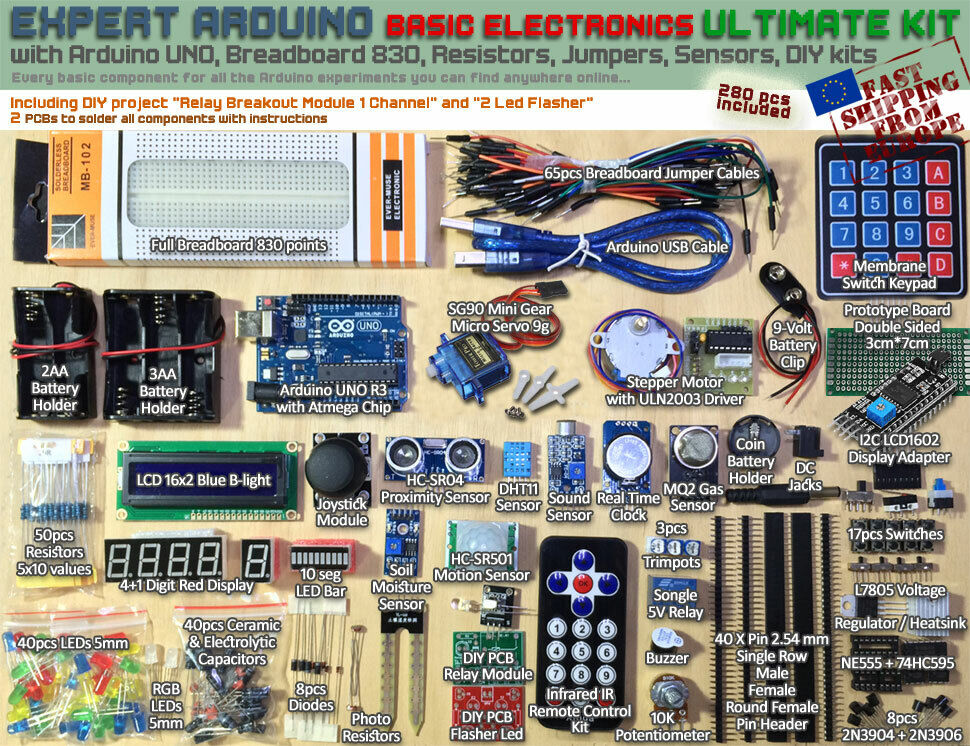 New expert arduino kit ultimate electronics pack uno