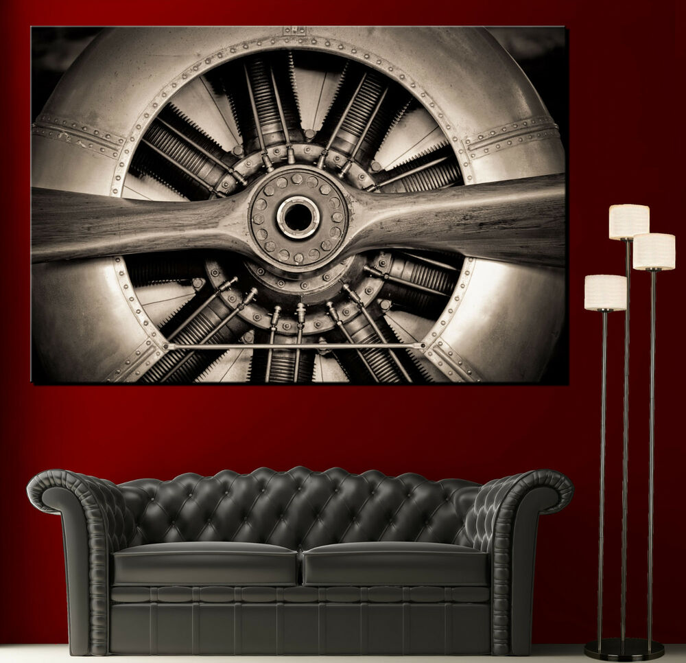 Wall art propeller airplane engine canvas print picture for Aviation decoration