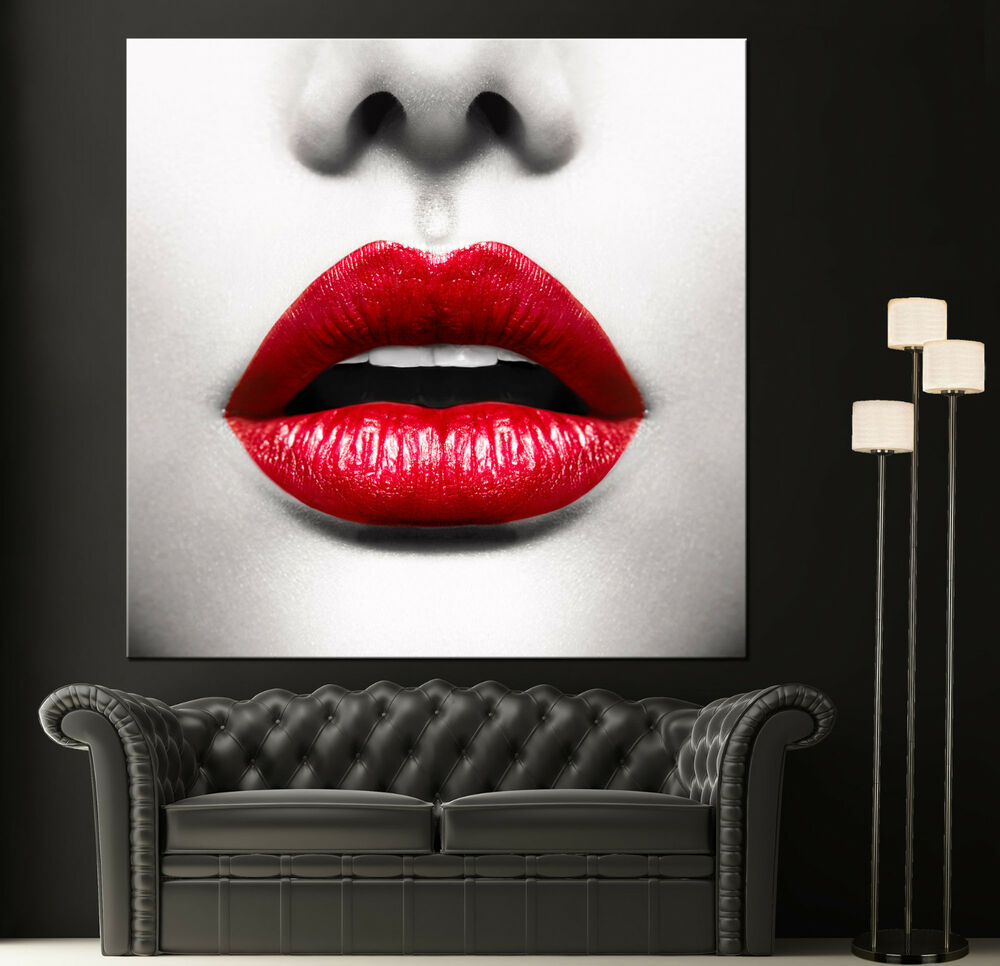 Red lips modern canvas home fine wall art photo prints black white print decor ebay Home decor wall art contemporary