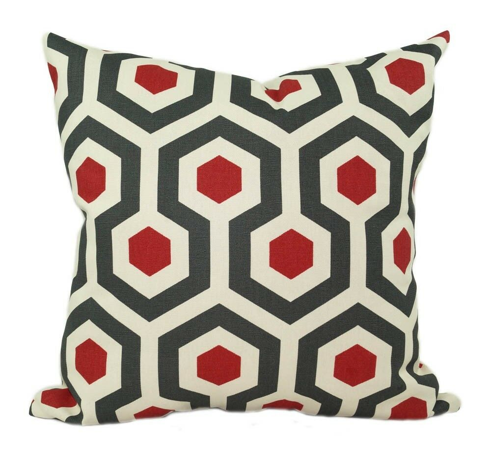 Dark Red Decorative Pillow : Red and Dark Gray Decorative Throw Pillow, Magna Timberwolf Red Accent Pillow eBay