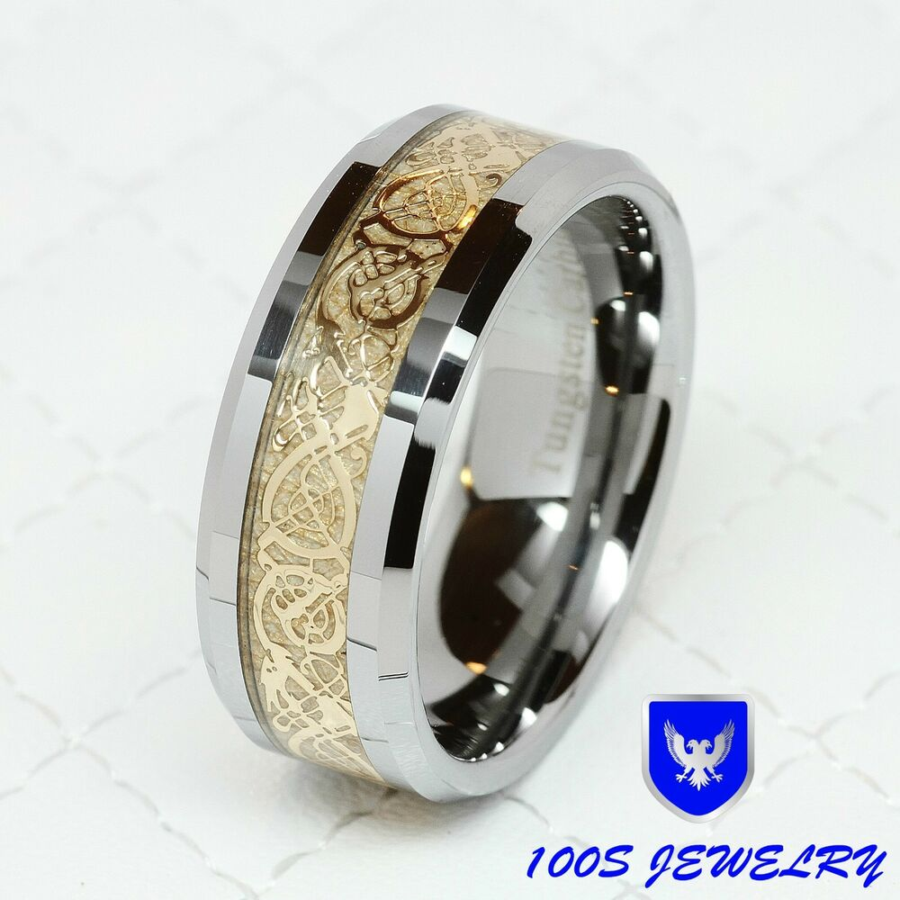 gold celtic dragon inlay men 39 s ring wedding band size 8 14 ebay
