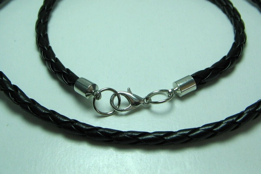 Men 4mm Black Braided Leather Cord Necklace with Lobster ...
