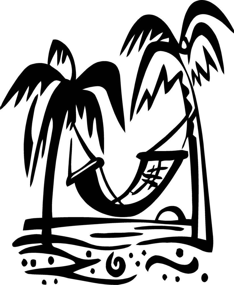 Palm Trees With Hammock Vinyl Wall Decal Ebay