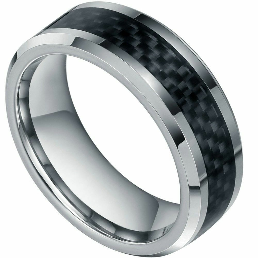 tungsten carbide men 39 s wedding band ring inlay carbon. Black Bedroom Furniture Sets. Home Design Ideas