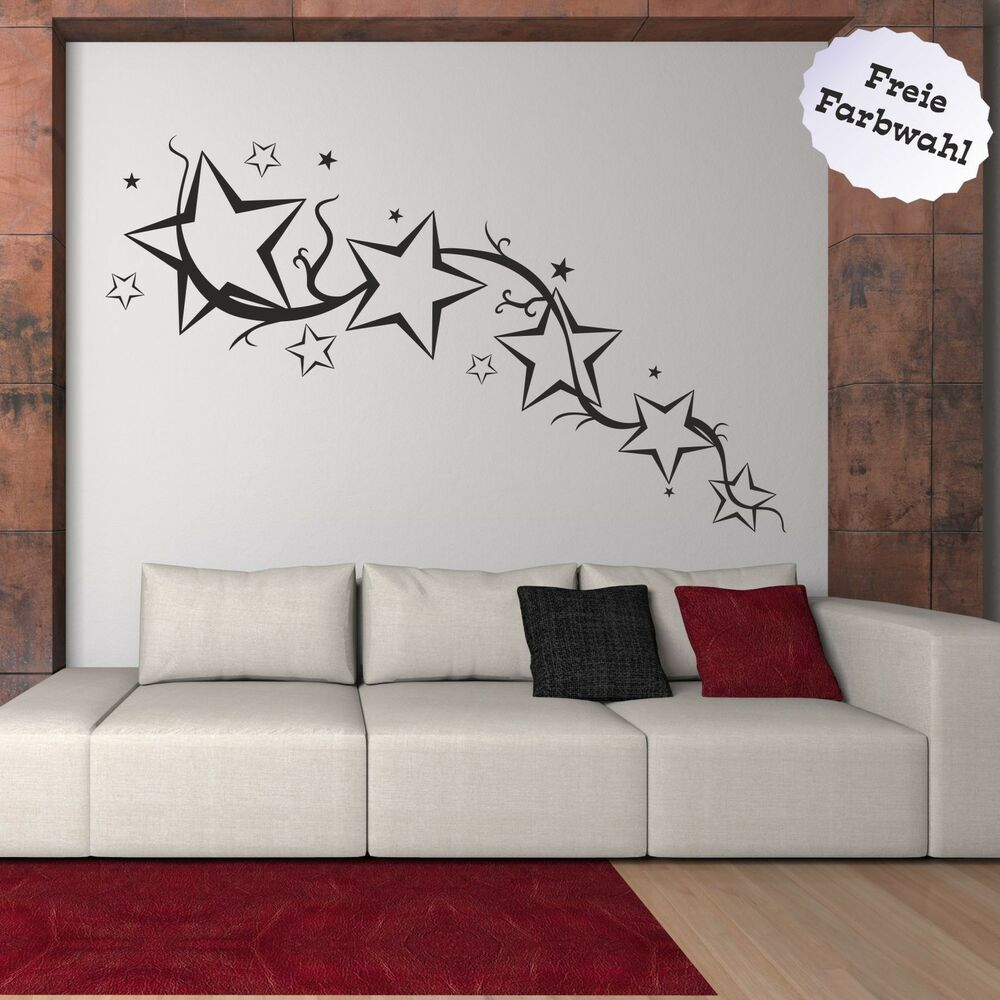 wandtattoo aufkleber wandaufkleber wohnzimmer sternschweif ornament stern sterne ebay. Black Bedroom Furniture Sets. Home Design Ideas
