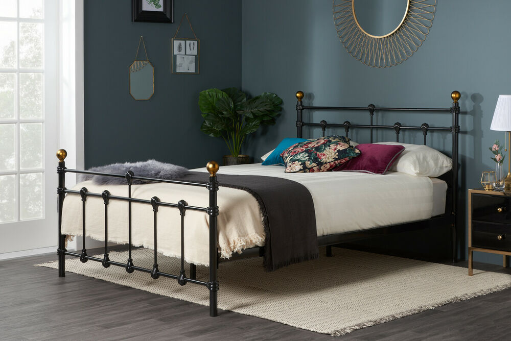 Victorian Metal Bed Frame Black Or Ivory With Memory Foam