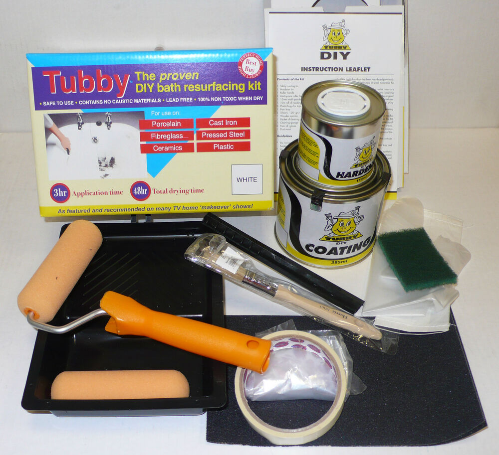 TUBBY White Enamel Bath Repair Paint Kit- for Re-Surfacing a Cast ...