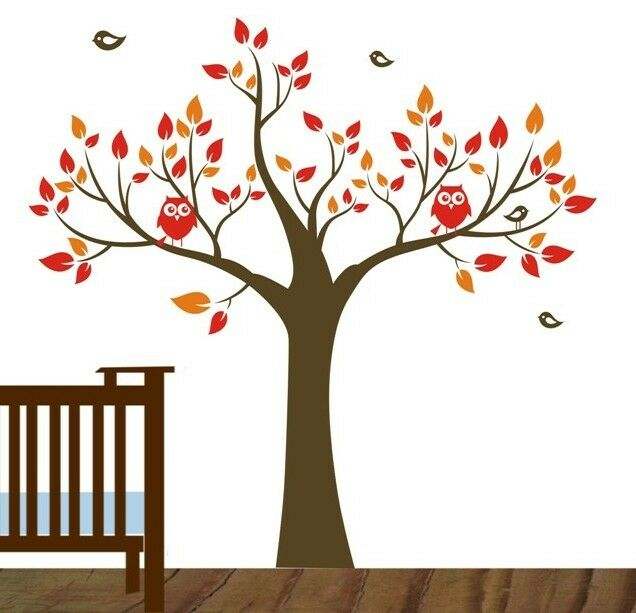Owl tree birds removable wall art stickers kids nursery for Bird and owl tree wall mural set