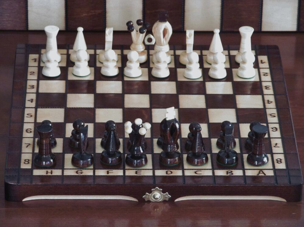 Brand new hand crafted wooden chess set x for Hand crafted chess set