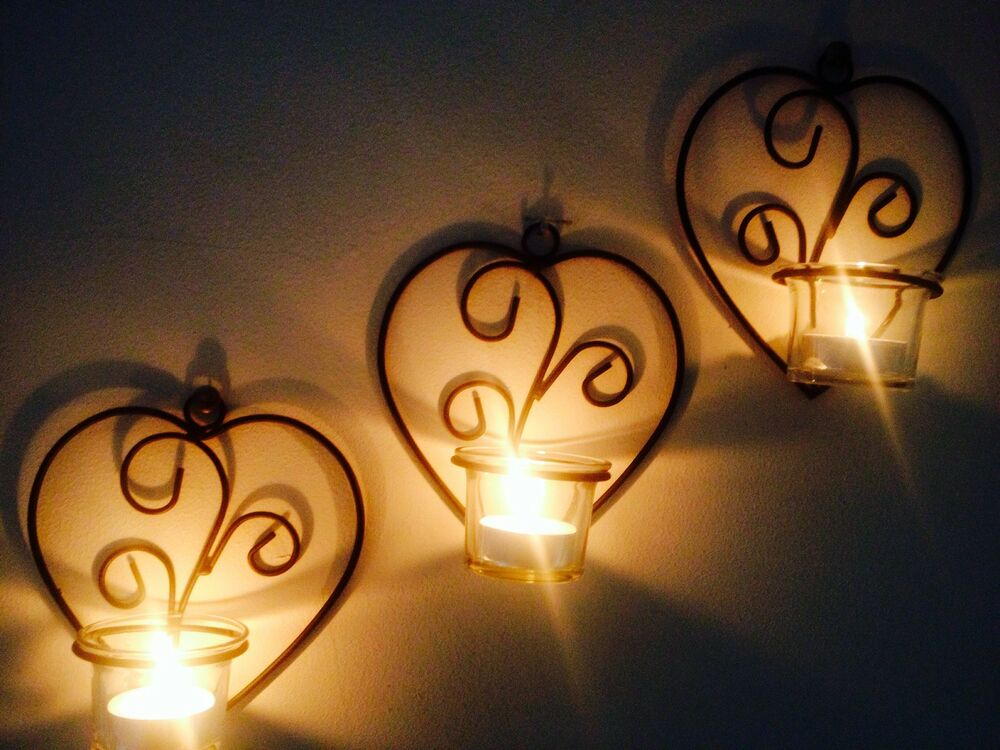 Wall Sconces Glass Candle Holders With Free Tea Lights : X3 heart Metal Wall Art Sconce set 6 peice Glass Tea Light candle Holders decor eBay