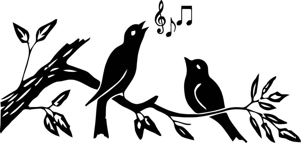 Birds On Branch With Music Notes Wall Vinyl Decal Ebay