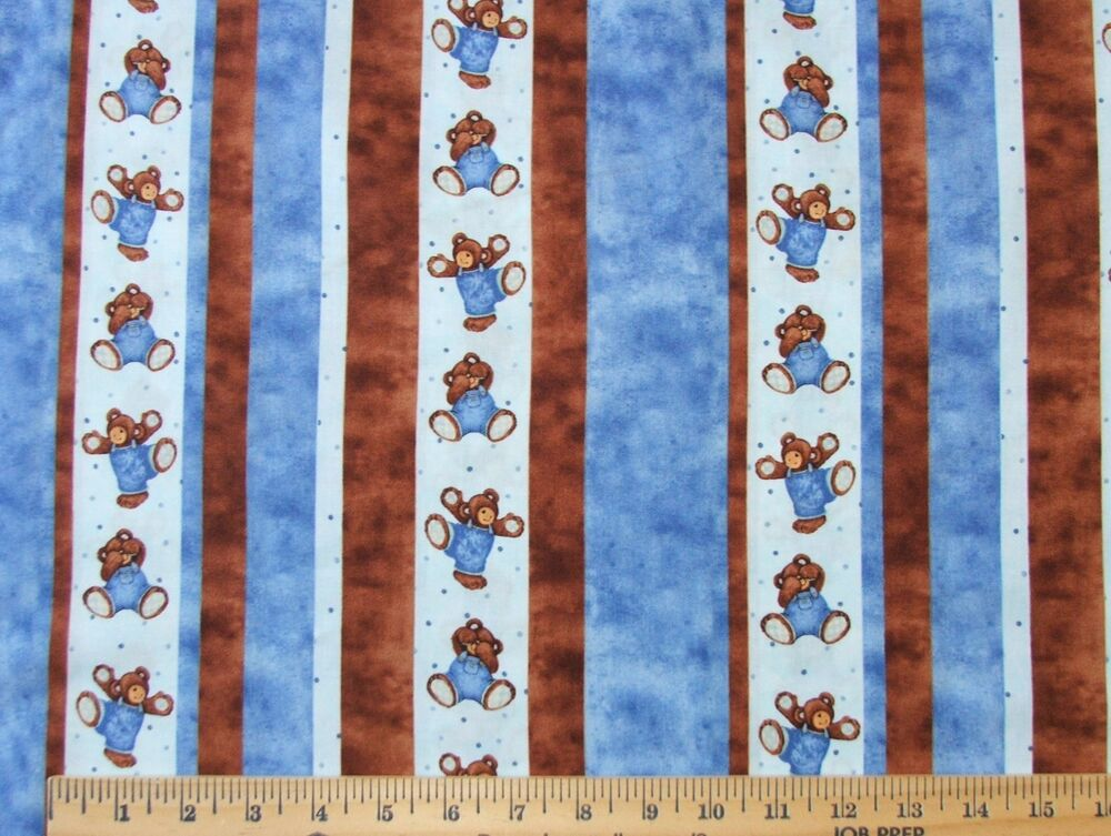 2.25 YARDS CUTE NOVELTY BEAR STRIPE PRINT FOR I SPY QUILT PROJECT COTTON FABRIC eBay