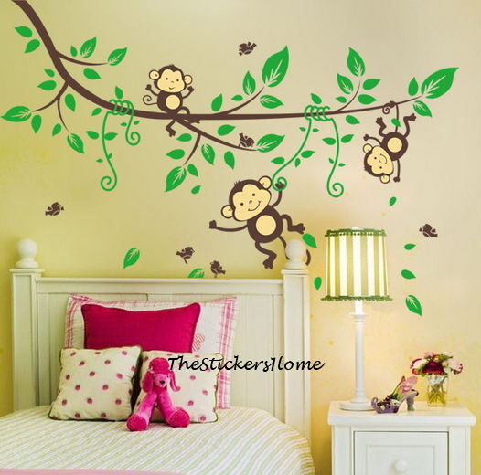 Wall Art Stickers Jungle : Cheeky monkey jungle tree wall stickers art decal baby