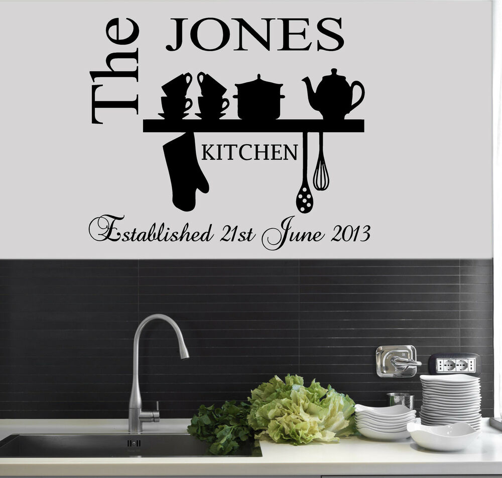 Personalised family est name kitchen wall art sticker for Kitchen cabinets lowes with wall art stencils quotes