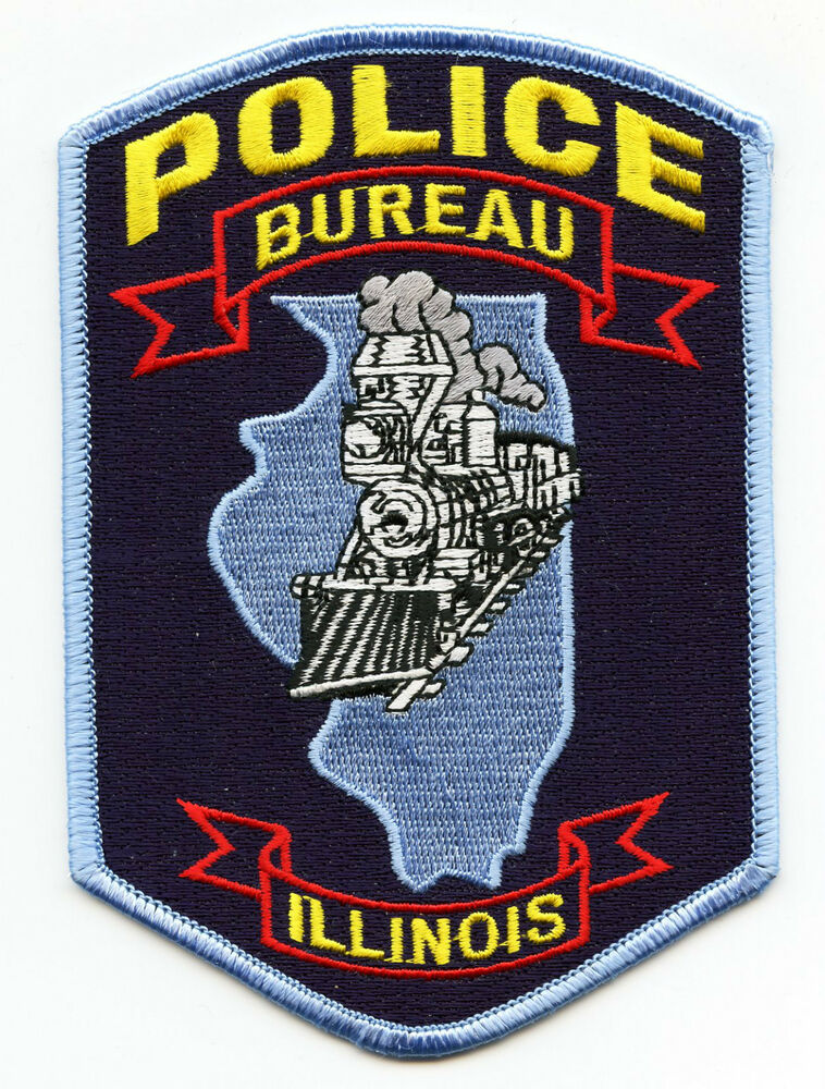 bureau illinois il train state outline police patch ebay. Black Bedroom Furniture Sets. Home Design Ideas