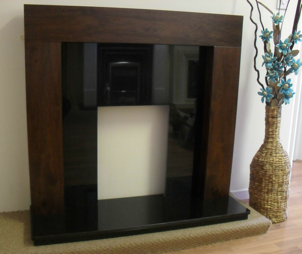 Gas Electric Mango Black Stone Granite Surround Fireplace Suite Downlights 54 Ebay