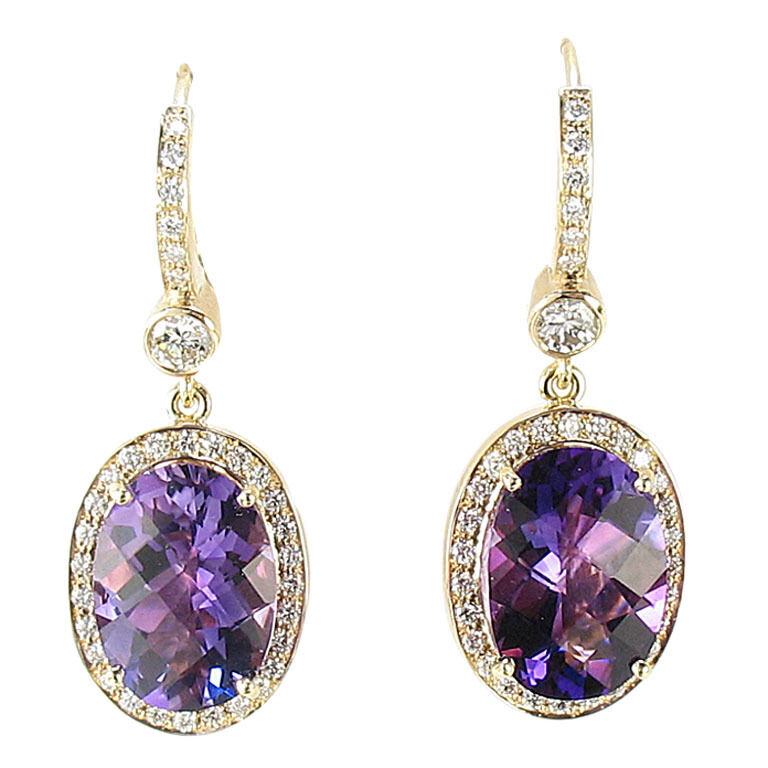 amethyst diamond gold drop earrings ebay. Black Bedroom Furniture Sets. Home Design Ideas
