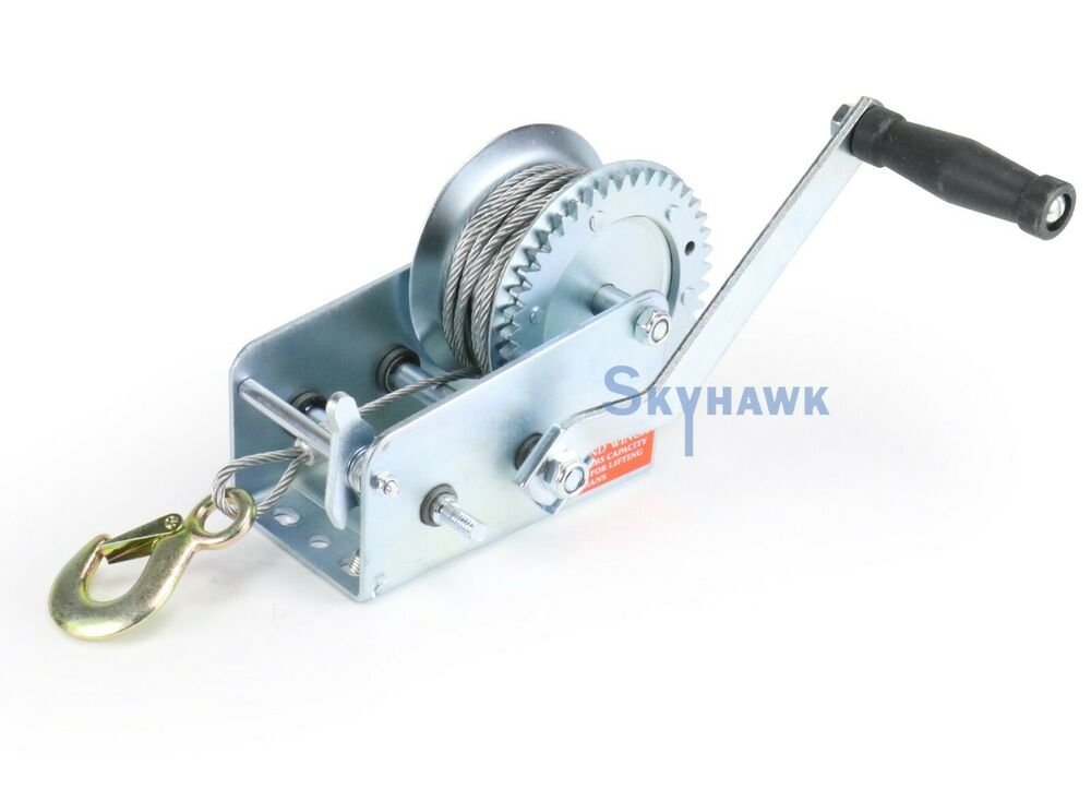 New Heavy Duty 2000 Lb Hand Cable Winch For Auto Boat