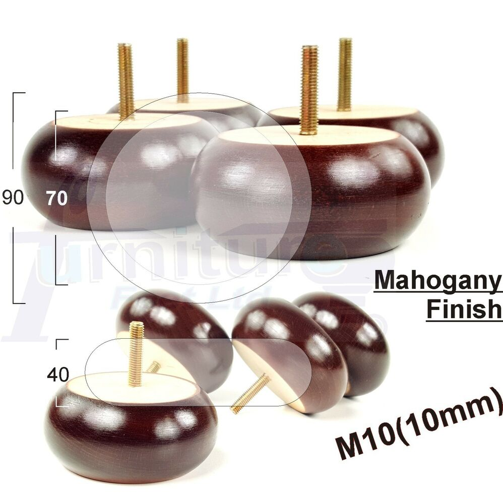 4x Wooden Bun Feet Wooden Furniture Legs For Sofa Chairs Stools M10 Ebay